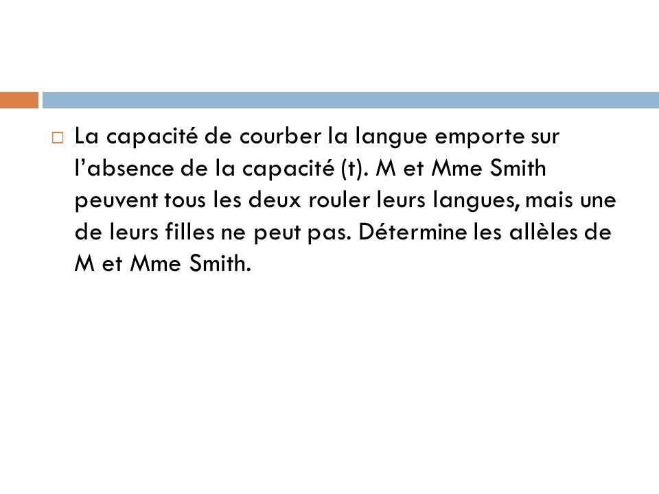  La capacité de courber la langue emporte sur l'absence de la capacité (t).