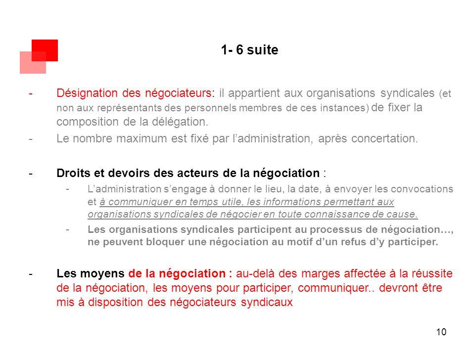 10 1- 6 suite -Désignation des négociateurs: il appartient aux organisations syndicales (et non aux représentants des personnels membres de ces instan