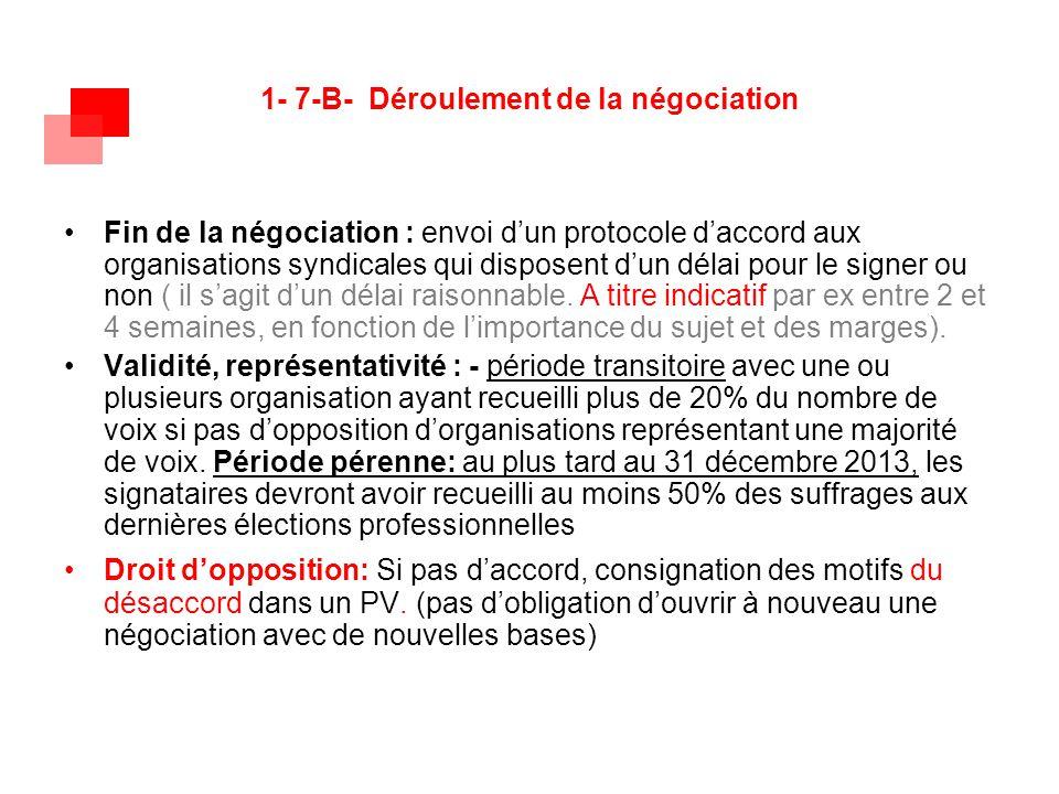 1- 7-B- Déroulement de la négociation Fin de la négociation : envoi d'un protocole d'accord aux organisations syndicales qui disposent d'un délai pour