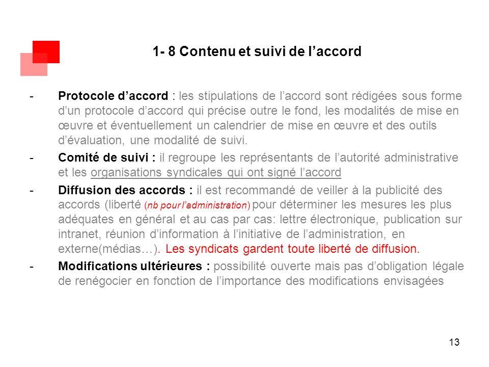 13 1- 8 Contenu et suivi de l'accord -Protocole d'accord : les stipulations de l'accord sont rédigées sous forme d'un protocole d'accord qui précise o