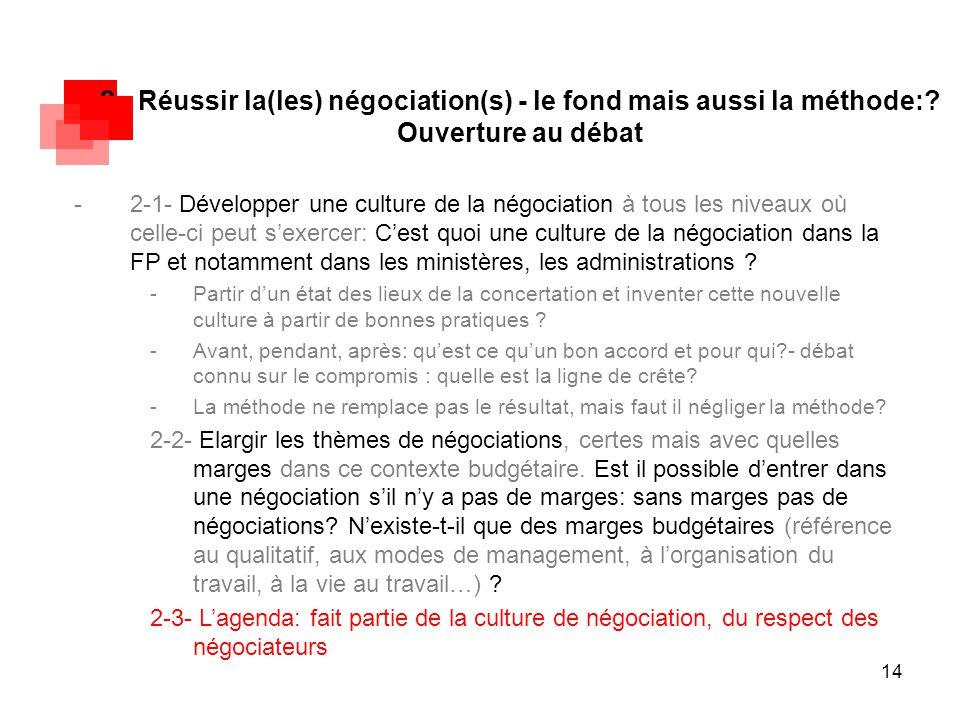 14 2 - Réussir la(les) négociation(s) - le fond mais aussi la méthode:? Ouverture au débat -2-1- Développer une culture de la négociation à tous les n