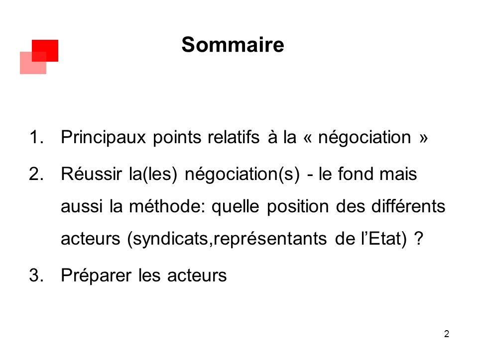 2 Sommaire 1.Principaux points relatifs à la « négociation » 2.Réussir la(les) négociation(s) - le fond mais aussi la méthode: quelle position des dif
