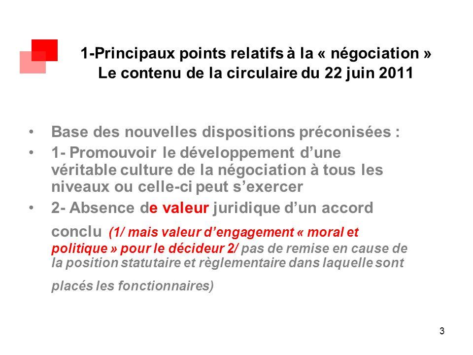 3 1-Principaux points relatifs à la « négociation » Le contenu de la circulaire du 22 juin 2011 Base des nouvelles dispositions préconisées : 1- Promo
