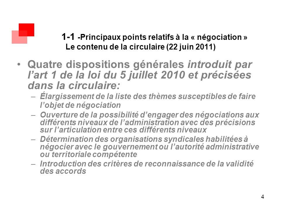 4 1-1 -Principaux points relatifs à la « négociation » Le contenu de la circulaire (22 juin 2011) Quatre dispositions générales introduit par l'art 1