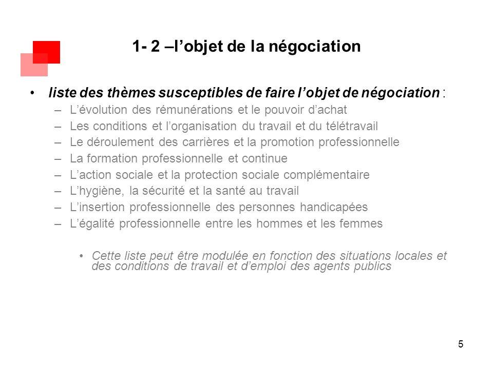 5 1- 2 –l'objet de la négociation liste des thèmes susceptibles de faire l'objet de négociation : –L'évolution des rémunérations et le pouvoir d'achat