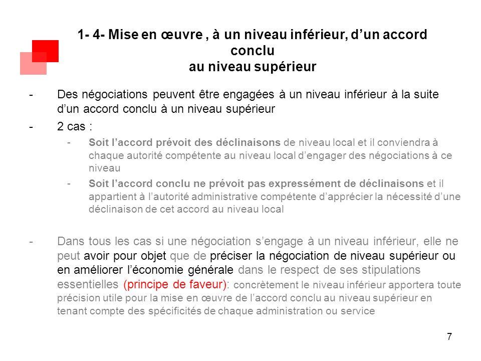 7 1- 4- Mise en œuvre, à un niveau inférieur, d'un accord conclu au niveau supérieur -Des négociations peuvent être engagées à un niveau inférieur à l