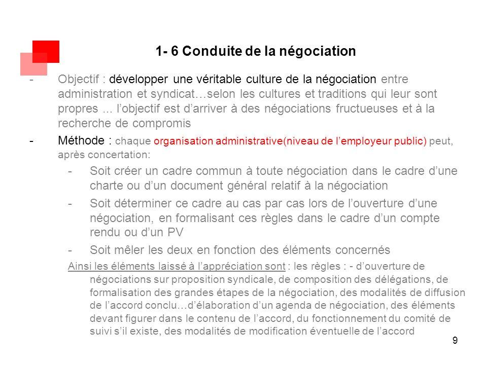 9 1- 6 Conduite de la négociation -Objectif : développer une véritable culture de la négociation entre administration et syndicat…selon les cultures e