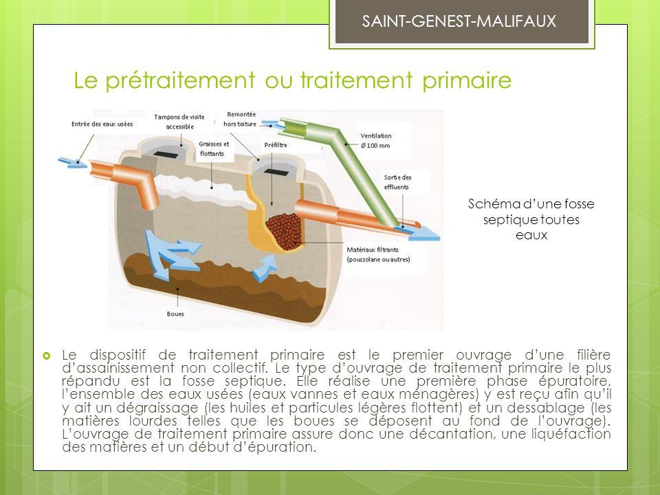 Le prétraitement ou traitement primaire  Le dispositif de traitement primaire est le premier ouvrage d'une filière d'assainissement non collectif. Le