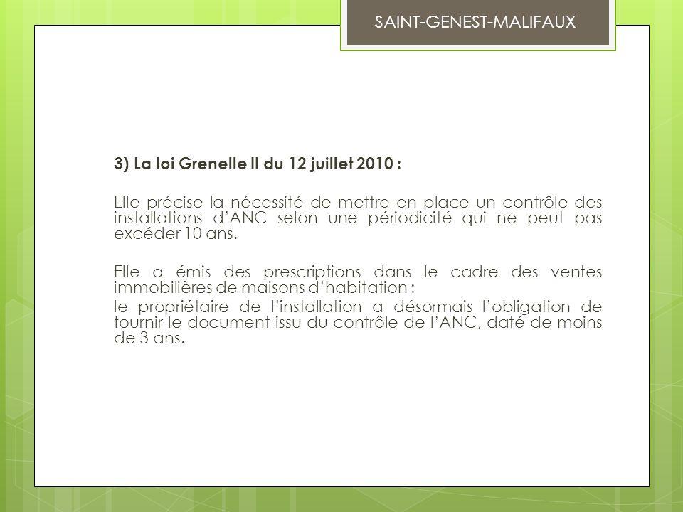 3) La loi Grenelle II du 12 juillet 2010 : Elle précise la nécessité de mettre en place un contrôle des installations d'ANC selon une périodicité qui
