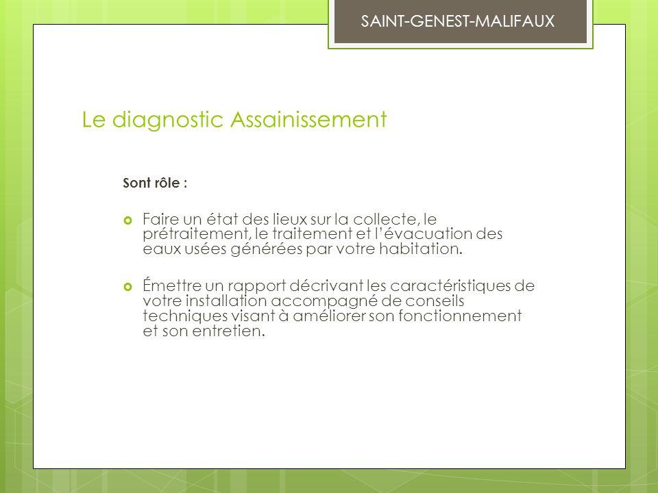 Le diagnostic Assainissement Sont rôle :  Faire un état des lieux sur la collecte, le prétraitement, le traitement et l'évacuation des eaux usées gén