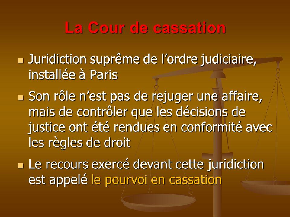 La Cour de cassation Juridiction suprême de l'ordre judiciaire, installée à Paris Juridiction suprême de l'ordre judiciaire, installée à Paris Son rôle n'est pas de rejuger une affaire, mais de contrôler que les décisions de justice ont été rendues en conformité avec les règles de droit Son rôle n'est pas de rejuger une affaire, mais de contrôler que les décisions de justice ont été rendues en conformité avec les règles de droit Le recours exercé devant cette juridiction est appelé le pourvoi en cassation Le recours exercé devant cette juridiction est appelé le pourvoi en cassation