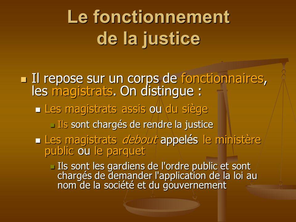Le fonctionnement de la justice Il repose sur un corps de fonctionnaires, les magistrats.
