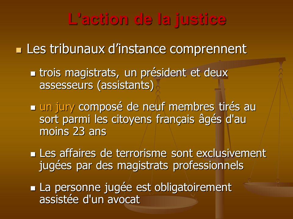 L action de la justice Les tribunaux d'instance comprennent Les tribunaux d'instance comprennent trois magistrats, un président et deux assesseurs (assistants) trois magistrats, un président et deux assesseurs (assistants) un jury composé de neuf membres tirés au sort parmi les citoyens français âgés d au moins 23 ans un jury composé de neuf membres tirés au sort parmi les citoyens français âgés d au moins 23 ans Les affaires de terrorisme sont exclusivement jugées par des magistrats professionnels Les affaires de terrorisme sont exclusivement jugées par des magistrats professionnels La personne jugée est obligatoirement assistée d un avocat La personne jugée est obligatoirement assistée d un avocat