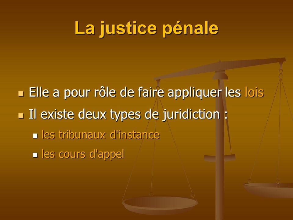 La justice pénale Elle a pour rôle de faire appliquer les lois Elle a pour rôle de faire appliquer les lois Il existe deux types de juridiction : Il existe deux types de juridiction : les tribunaux d instance les tribunaux d instance les cours d appel les cours d appel