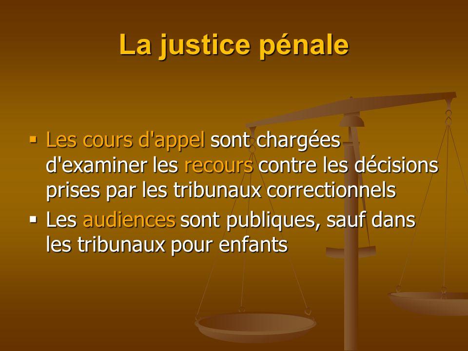 La justice pénale  Les cours d appel sont chargées d examiner les recours contre les décisions prises par les tribunaux correctionnels  Les audiences sont publiques, sauf dans les tribunaux pour enfants