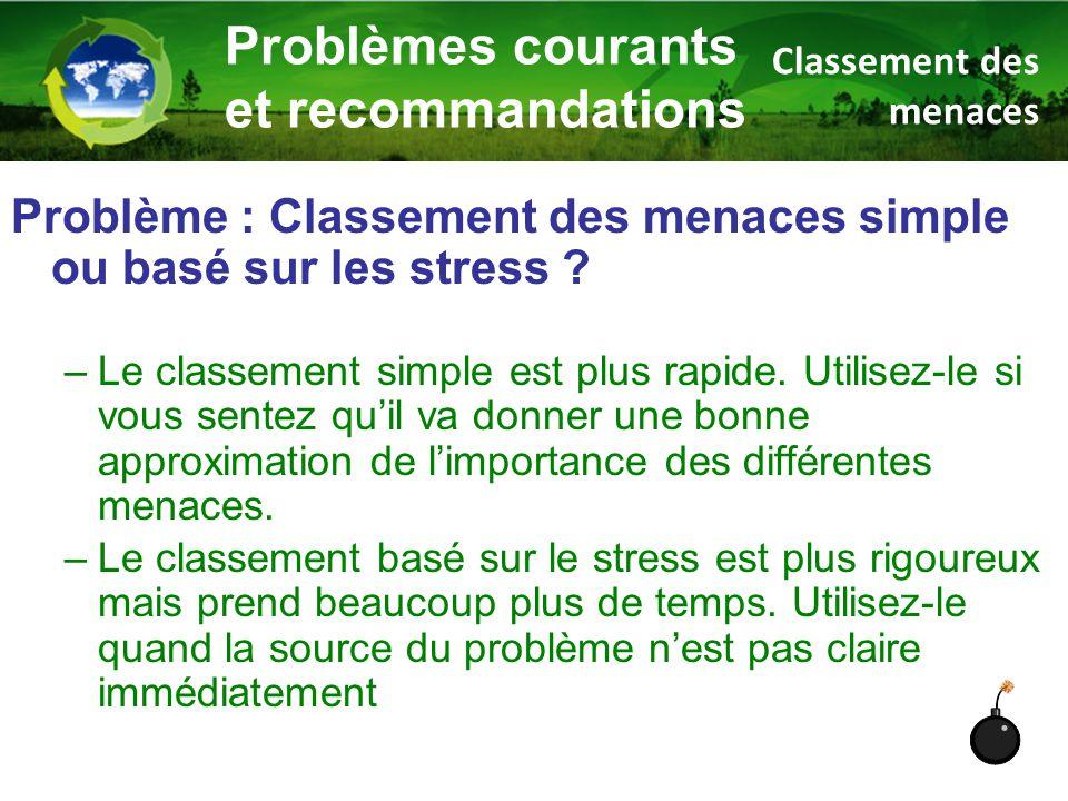 Problème : Classement des menaces simple ou basé sur les stress ? –Le classement simple est plus rapide. Utilisez-le si vous sentez qu'il va donner un