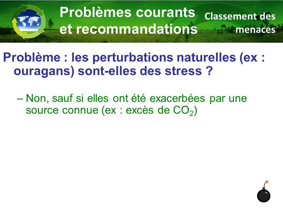 Problème : les perturbations naturelles (ex : ouragans) sont-elles des stress ? –Non, sauf si elles ont été exacerbées par une source connue (ex : exc