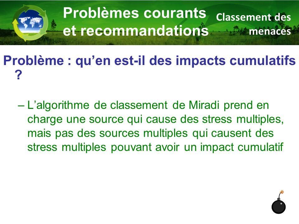Problème : qu'en est-il des impacts cumulatifs ? –L'algorithme de classement de Miradi prend en charge une source qui cause des stress multiples, mais