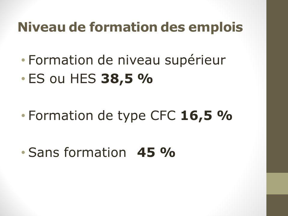 Niveau de formation des emplois Formation de niveau supérieur ES ou HES 38,5 % Formation de type CFC 16,5 % Sans formation 45 %