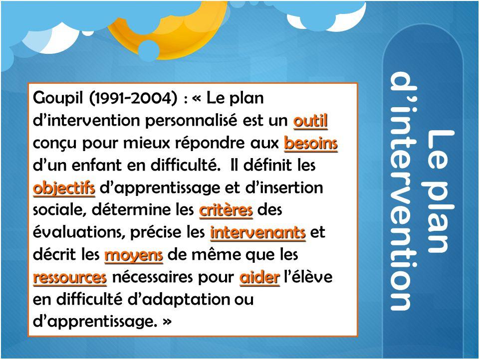 Le plan d'intervention outil besoins objectifs critères intervenants moyens ressourcesaider Goupil (1991-2004) : « Le plan d'intervention personnalisé