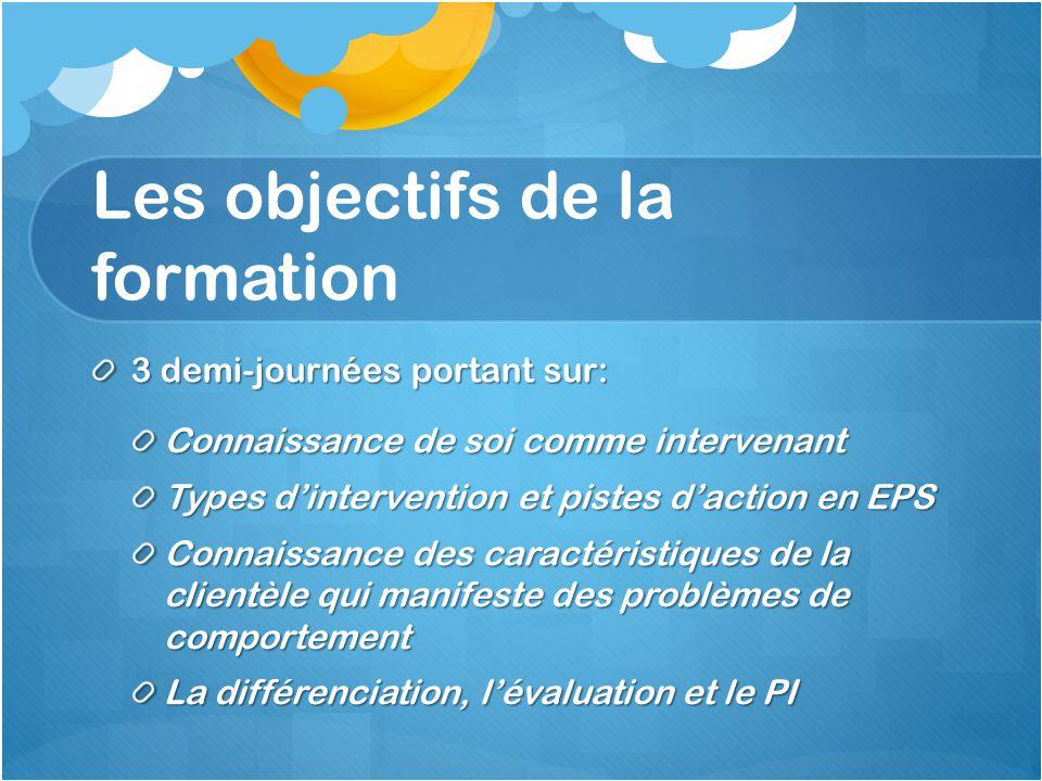 Les objectifs de la formation 3 demi-journées portant sur: Connaissance de soi comme intervenant Types d'intervention et pistes d'action en EPS Connai