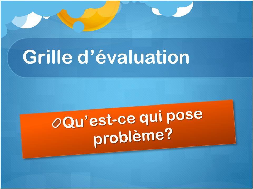 Grille d'évaluation Qu'est-ce qui pose problème?