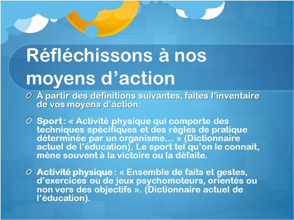 Réfléchissons à nos moyens d'action À partir des définitions suivantes, faites l'inventaire de vos moyens d'action: Sport : « Activité physique qui co