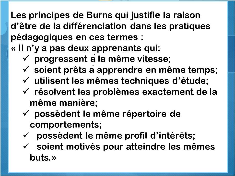 Les principes de Burns qui justifie la raison d'être de la différenciation dans les pratiques pédagogiques en ces termes : « Il n'y a pas deux apprena