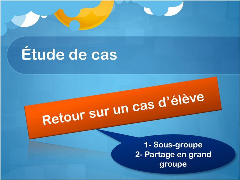 Étude de cas 1- Sous-groupe 2- Partage en grand groupe 1- Sous-groupe 2- Partage en grand groupe