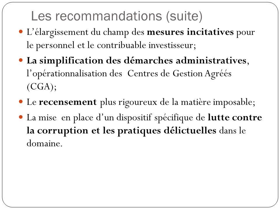 Les recommandations (suite) L'élargissement du champ des mesures incitatives pour le personnel et le contribuable investisseur; La simplification des démarches administratives, l'opérationnalisation des Centres de Gestion Agréés (CGA); Le recensement plus rigoureux de la matière imposable; La mise en place d'un dispositif spécifique de lutte contre la corruption et les pratiques délictuelles dans le domaine.