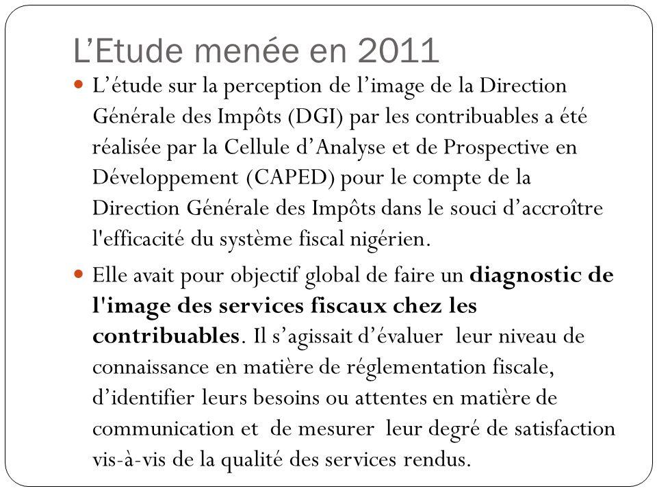 L'Etude menée en 2011 L'étude sur la perception de l'image de la Direction Générale des Impôts (DGI) par les contribuables a été réalisée par la Cellule d'Analyse et de Prospective en Développement (CAPED) pour le compte de la Direction Générale des Impôts dans le souci d'accroître l efficacité du système fiscal nigérien.