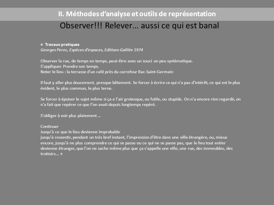 Observer!!! Relever… aussi ce qui est banal II. Méthodes d'analyse et outils de représentation Travaux pratiques Observer la rue, de temps en temps, p