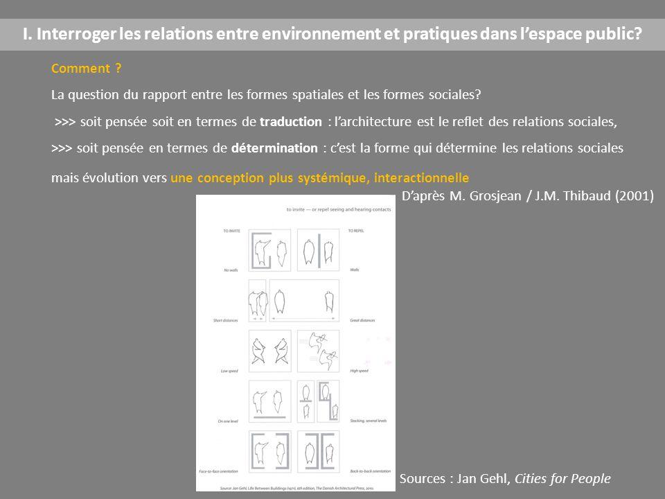 I. Interroger les relations entre environnement et pratiques dans l'espace public? Comment ? La question du rapport entre les formes spatiales et les