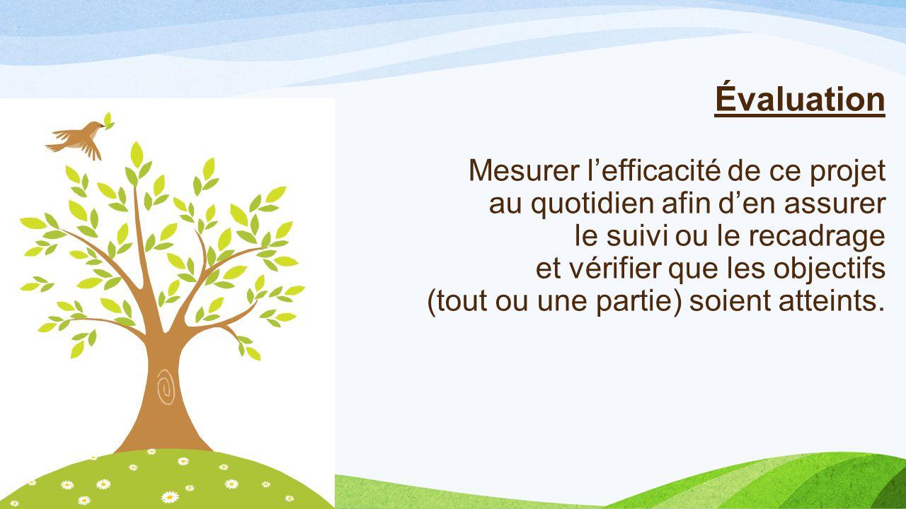 Évaluation Mesurer l'efficacité de ce projet au quotidien afin d'en assurer le suivi ou le recadrage et vérifier que les objectifs (tout ou une partie