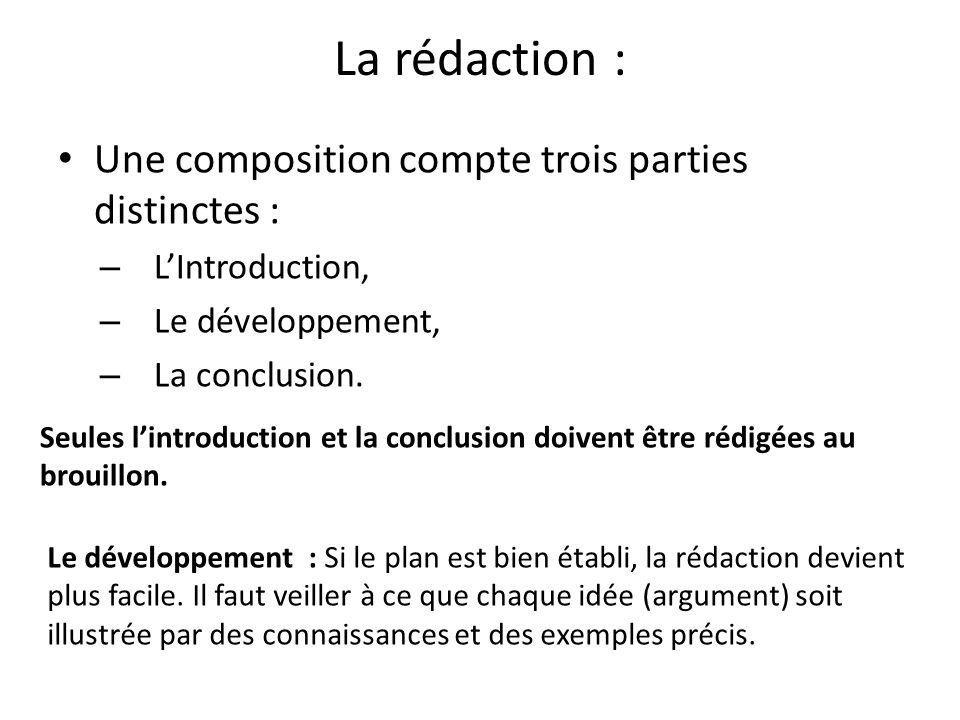 La rédaction : Une composition compte trois parties distinctes : – L'Introduction, – Le développement, – La conclusion.