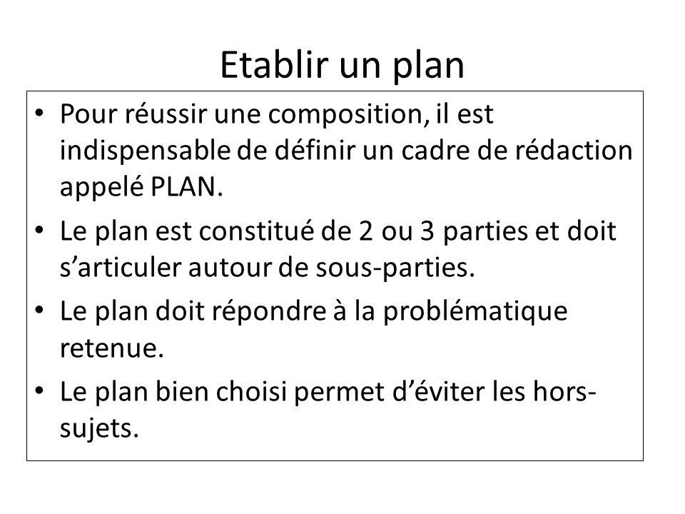 Etablir un plan Pour réussir une composition, il est indispensable de définir un cadre de rédaction appelé PLAN. Le plan est constitué de 2 ou 3 parti