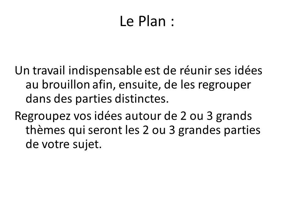 Le Plan : Un travail indispensable est de réunir ses idées au brouillon afin, ensuite, de les regrouper dans des parties distinctes.