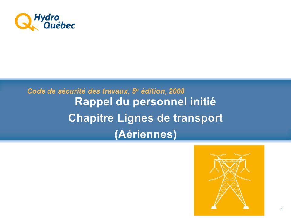 Rappel au Code de sécurité des travaux 1 Code de sécurité des travaux, 5 e édition, 2008 Rappel du personnel initié Chapitre Lignes de transport (Aériennes)