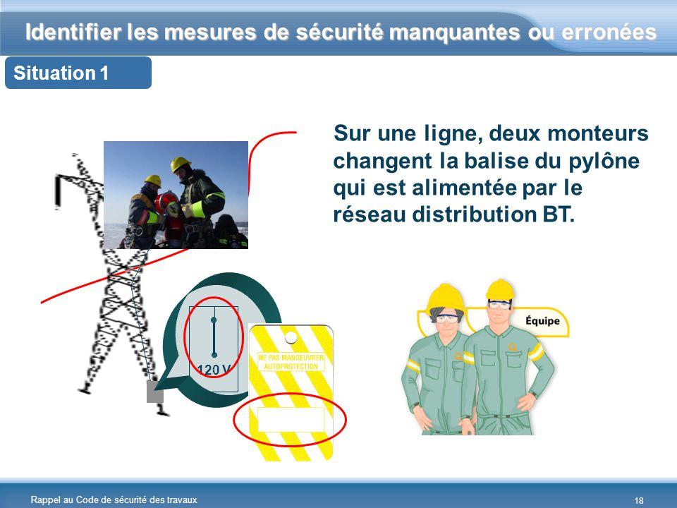 Rappel au Code de sécurité des travaux Identifier les mesures de sécurité manquantes ou erronées Situation 1 Sur une ligne, deux monteurs changent la balise du pylône qui est alimentée par le réseau distribution BT.