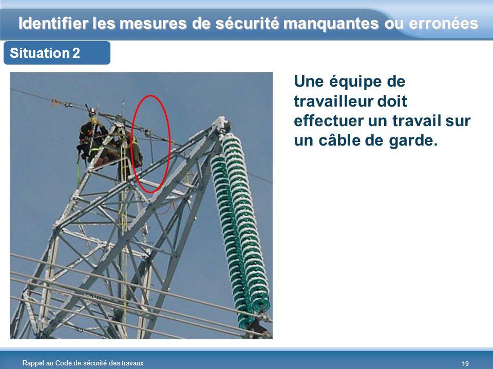Rappel au Code de sécurité des travaux Identifier les mesures de sécurité manquantes ou erronées Situation 2 Une équipe de travailleur doit effectuer un travail sur un câble de garde.