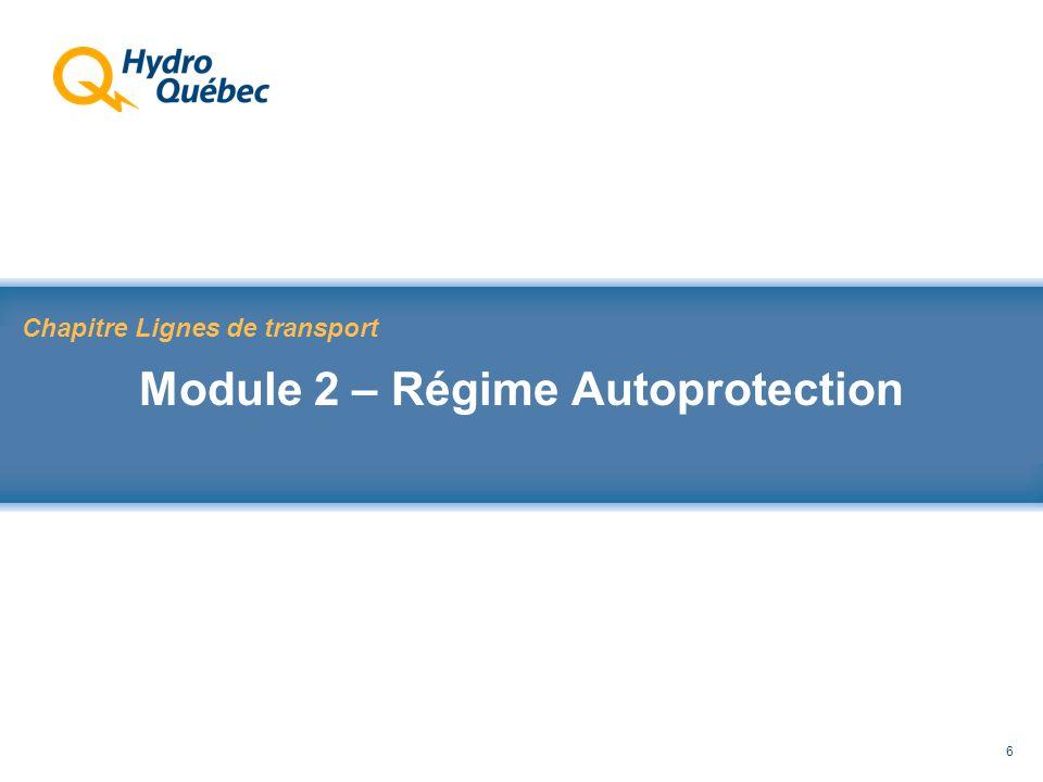 Rappel au Code de sécurité des travaux 6 Chapitre Lignes de transport Module 2 – Régime Autoprotection