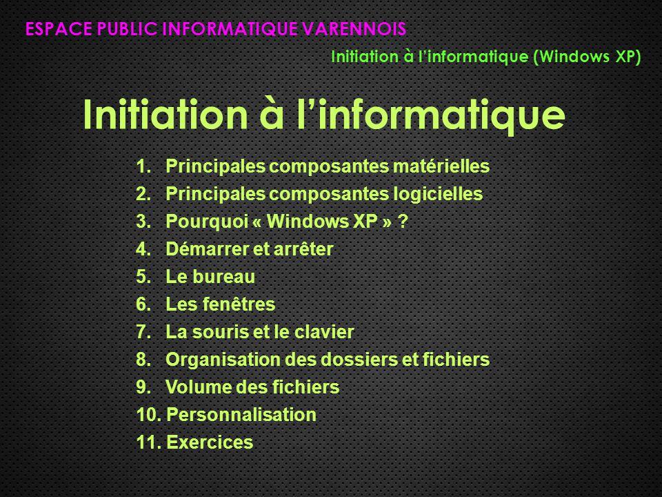 Initiation à l'informatique ESPACE PUBLIC INFORMATIQUE VARENNOIS Initiation à l'informatique (Windows XP) 1. Principales composantes matérielles 2. Pr