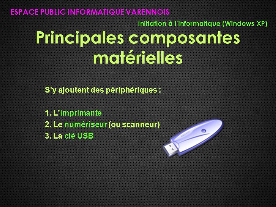 Principales composantes matérielles ESPACE PUBLIC INFORMATIQUE VARENNOIS Initiation à l'informatique (Windows XP) S'y ajoutent des périphériques : 1.