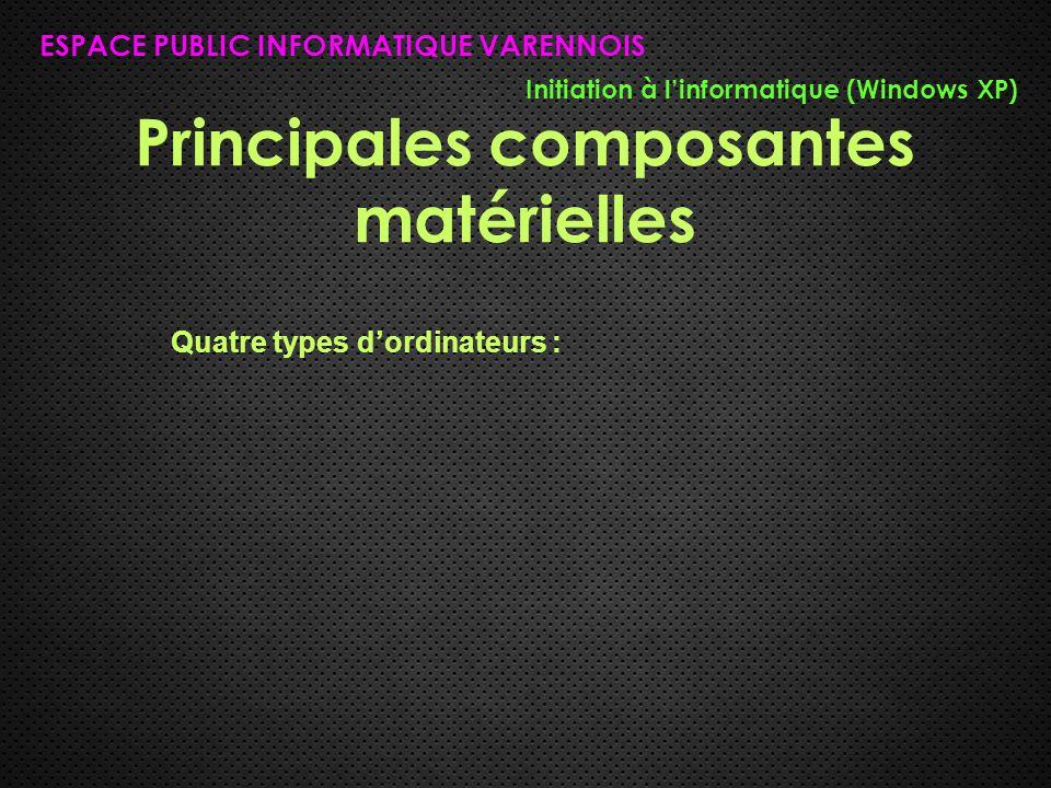 Principales composantes matérielles ESPACE PUBLIC INFORMATIQUE VARENNOIS Initiation à l'informatique (Windows XP) Quatre types d'ordinateurs :