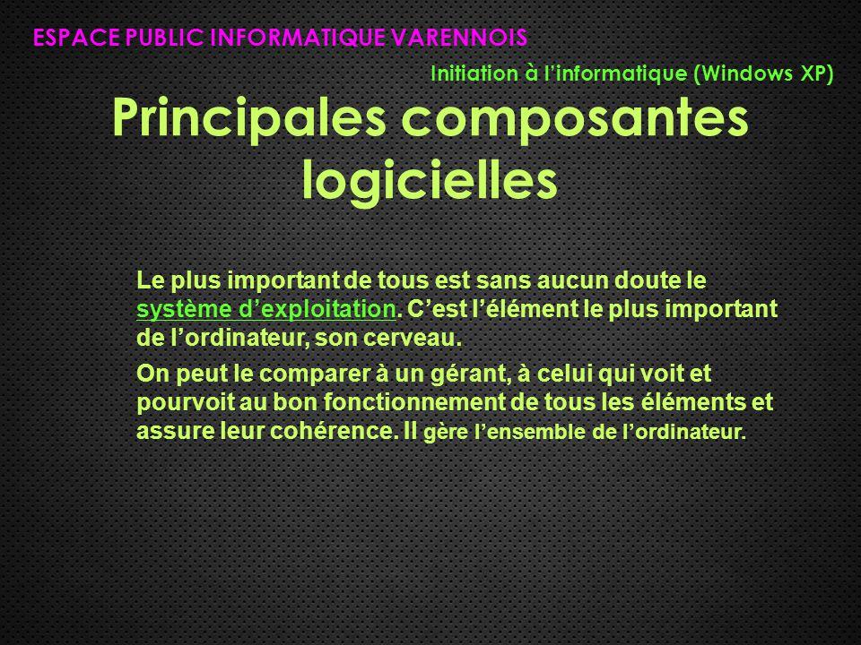 Principales composantes logicielles ESPACE PUBLIC INFORMATIQUE VARENNOIS Initiation à l'informatique (Windows XP) Le plus important de tous est sans a