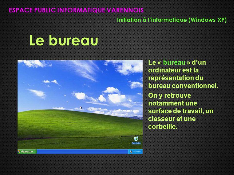 Le bureau ESPACE PUBLIC INFORMATIQUE VARENNOIS Initiation à l'informatique (Windows XP) Le « bureau » d'un ordinateur est la représentation du bureau