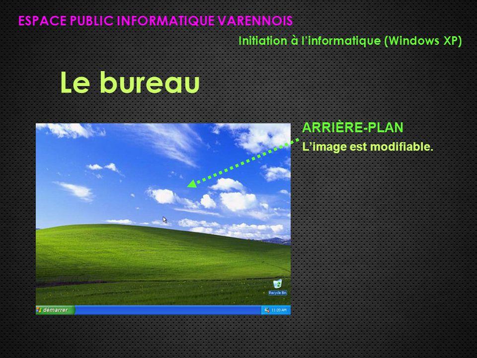 Le bureau ESPACE PUBLIC INFORMATIQUE VARENNOIS Initiation à l'informatique (Windows XP) ARRIÈRE-PLAN L'image est modifiable.