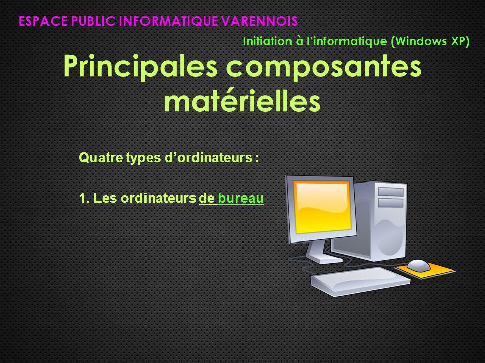 Principales composantes matérielles ESPACE PUBLIC INFORMATIQUE VARENNOIS Initiation à l'informatique (Windows XP) Quatre types d'ordinateurs : 1. Les