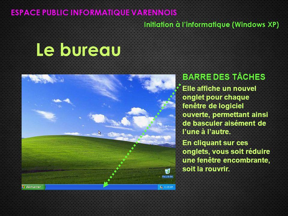 Le bureau ESPACE PUBLIC INFORMATIQUE VARENNOIS Initiation à l'informatique (Windows XP) BARRE DES TÂCHES Elle affiche un nouvel onglet pour chaque fenêtre de logiciel ouverte, permettant ainsi de basculer aisément de l'une à l'autre.