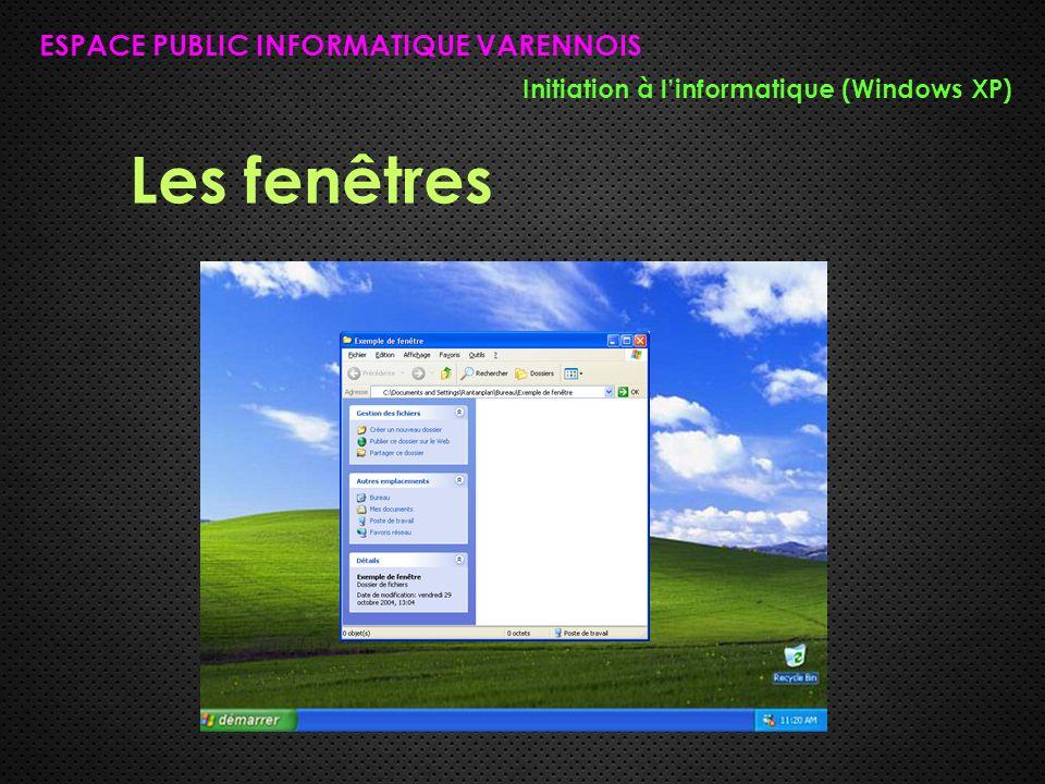 Les fenêtres ESPACE PUBLIC INFORMATIQUE VARENNOIS Initiation à l'informatique (Windows XP)